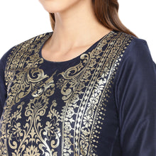 Load image into Gallery viewer, Women Navy Blue Printed Straight Kurta-5