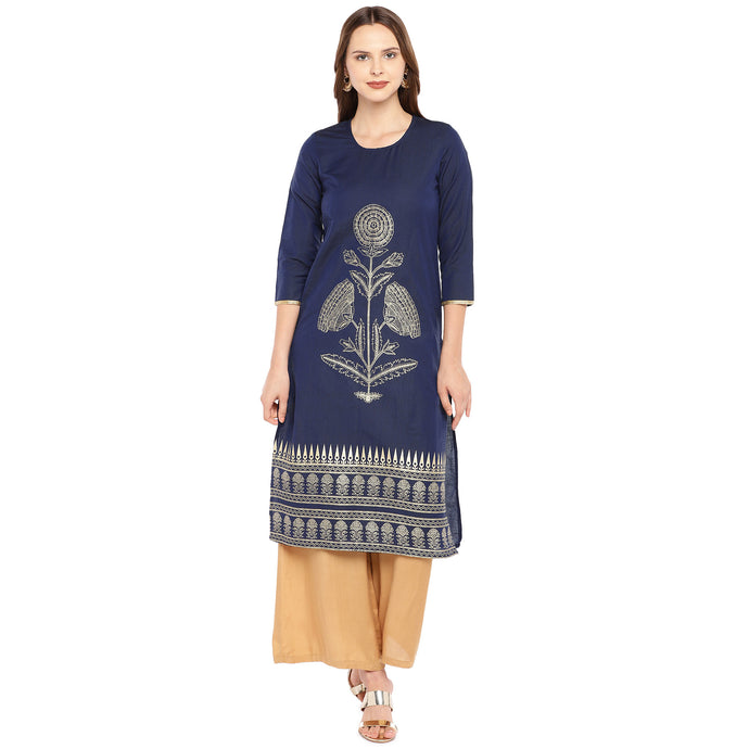 Women Navy Blue Woven Design Straight Kurta-1