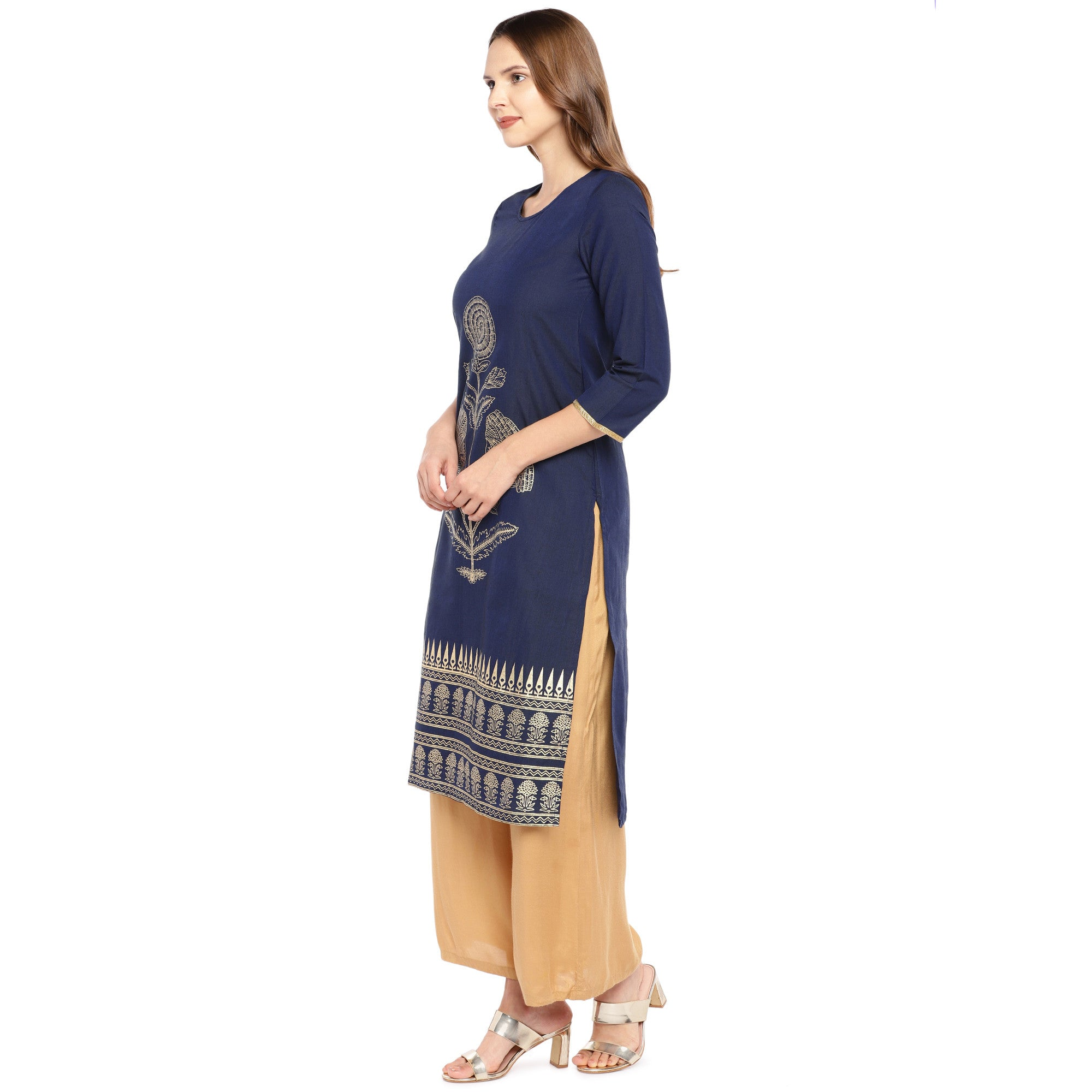 Women Navy Blue Woven Design Straight Kurta-2