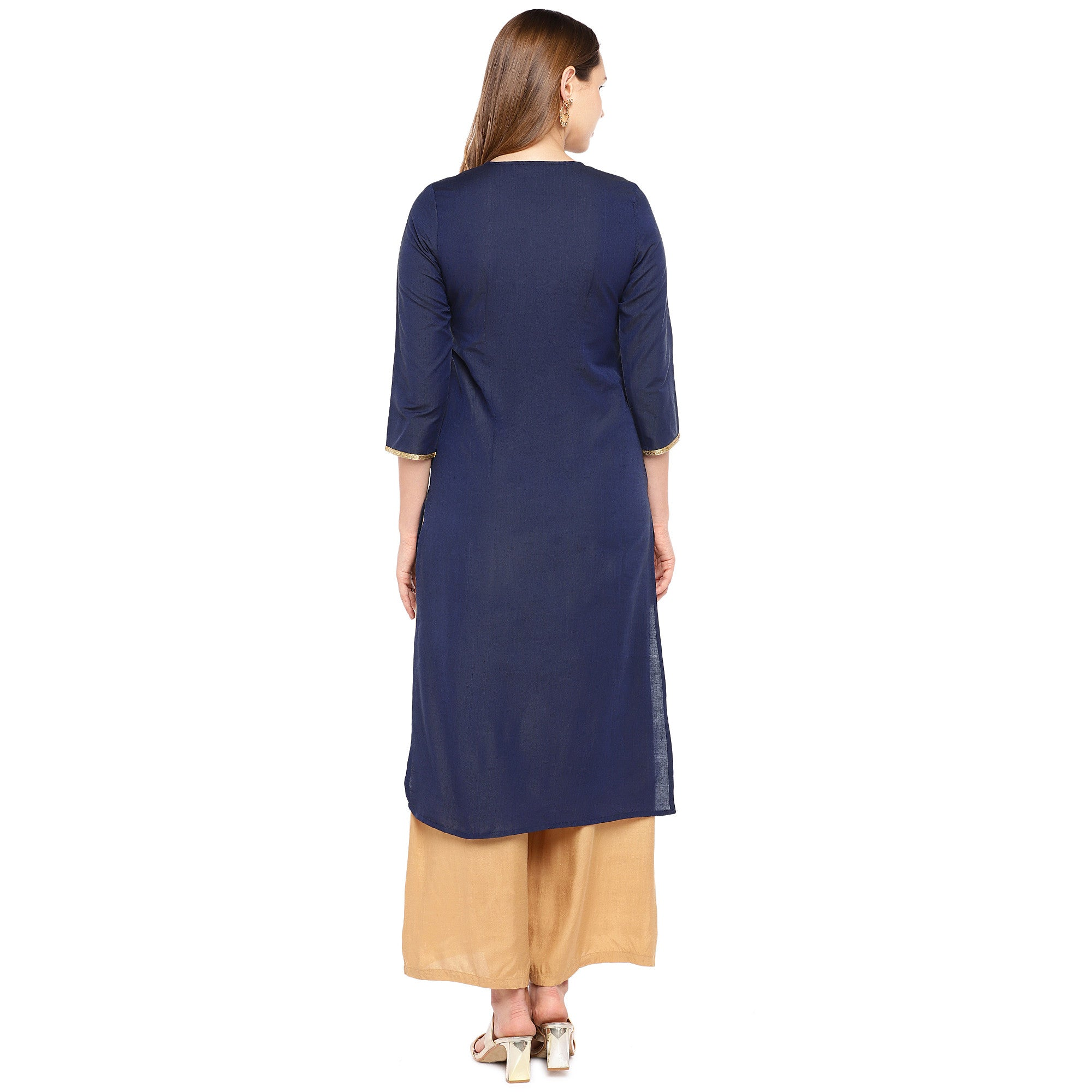 Women Navy Blue Woven Design Straight Kurta-3