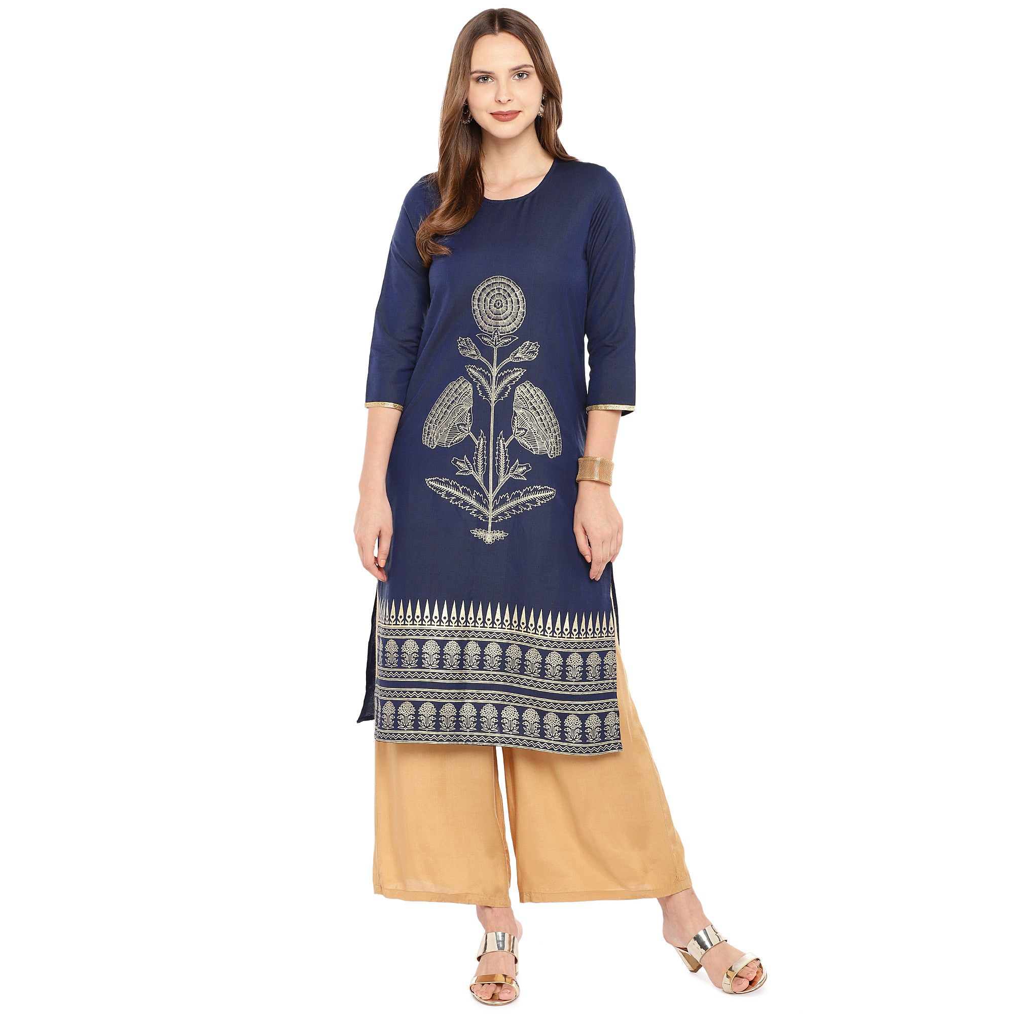 Women Navy Blue Woven Design Straight Kurta-4