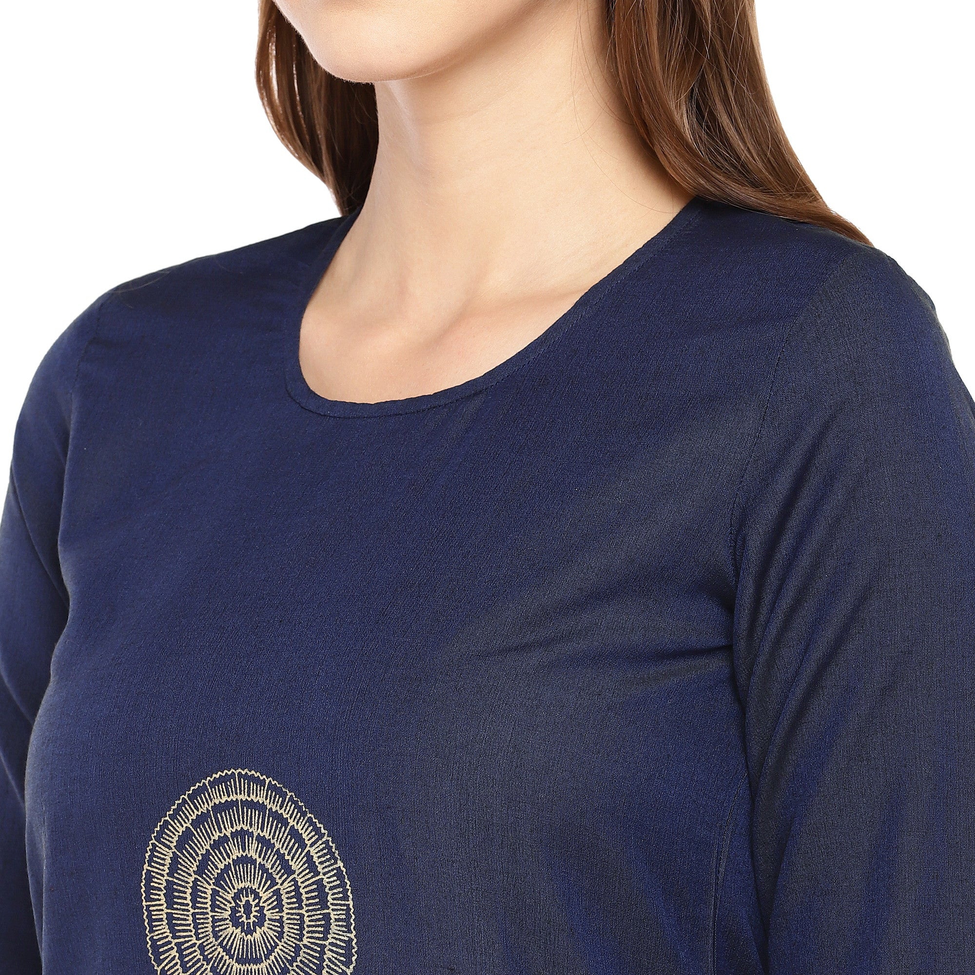 Women Navy Blue Woven Design Straight Kurta-5