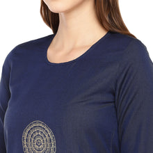 Load image into Gallery viewer, Women Navy Blue Woven Design Straight Kurta-5
