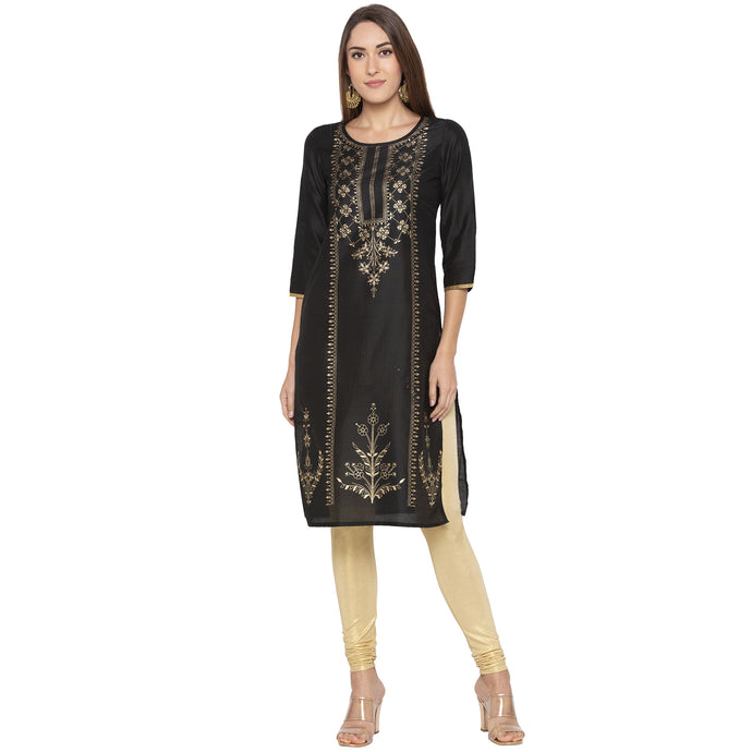 Casual Black Color Straight Printed Regular Kurtas-1