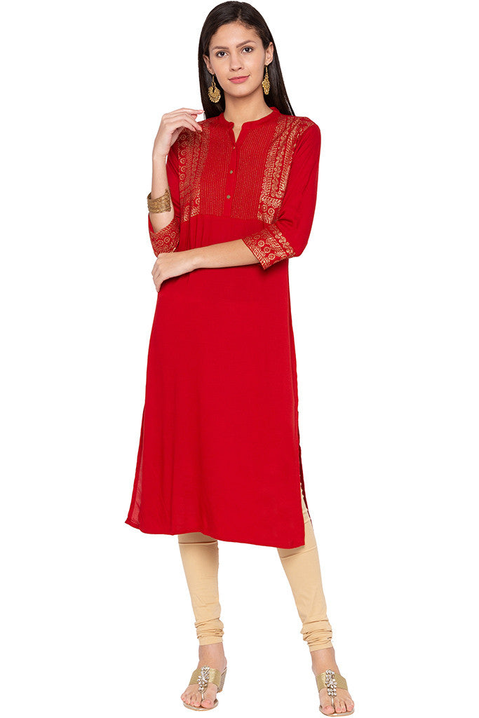 Rogan Print Red Kurta-1