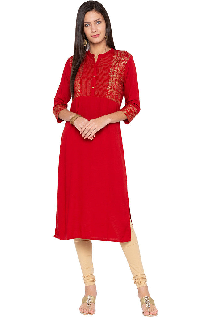 Rogan Print Red Kurta-2
