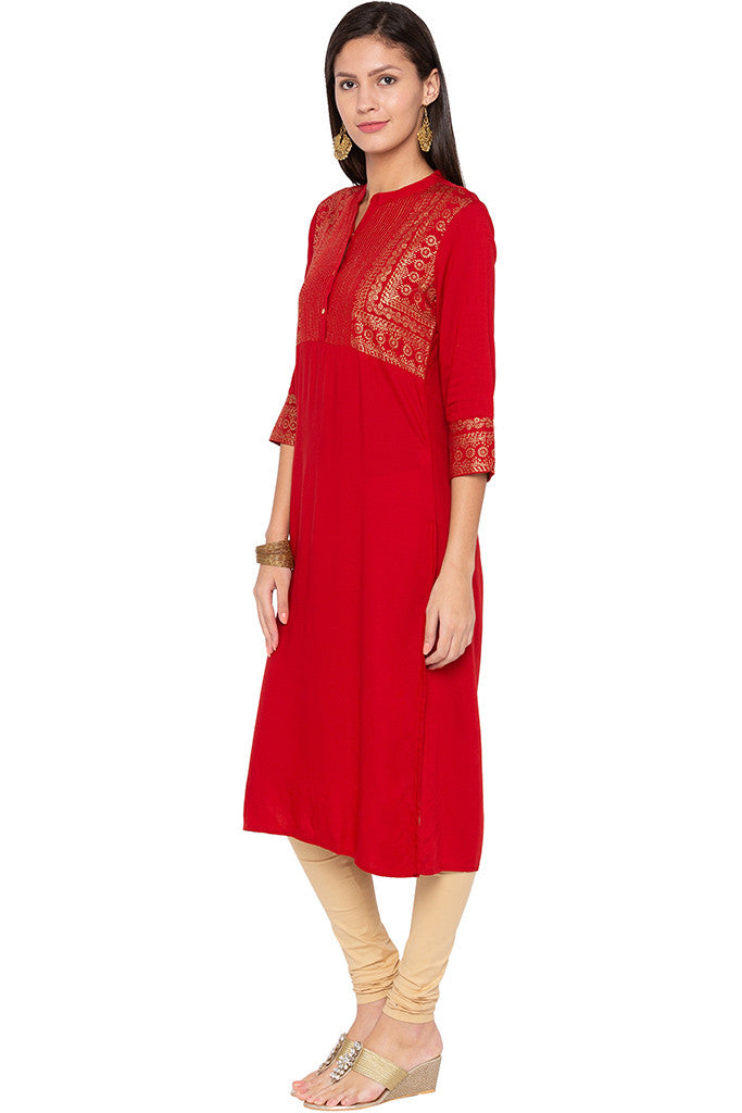 Rogan Print Red Kurta-4
