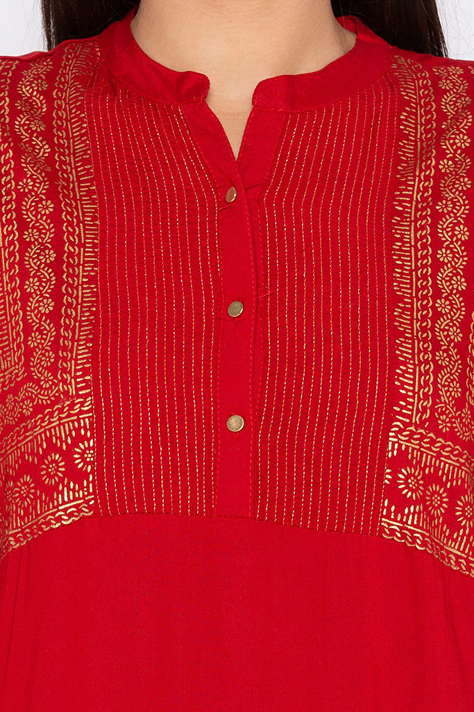 Rogan Print Red Kurta-5