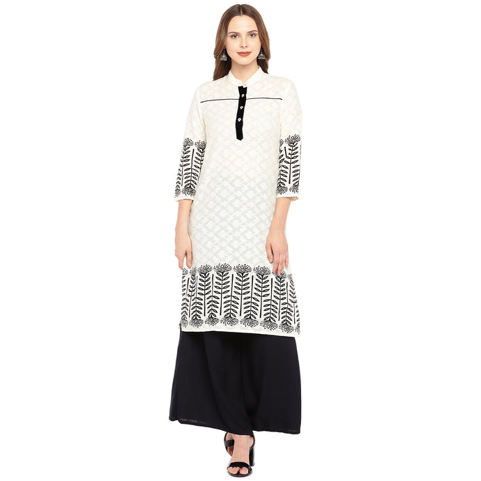 Women Cream-Coloured & Black Printed Straight Kurta-1