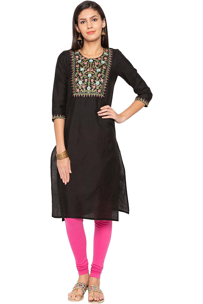 Floral Embroidered Ethnic Kurta-1