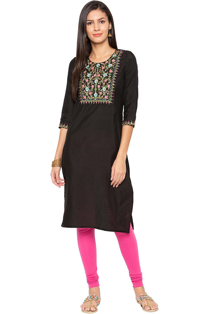Floral Embroidered Ethnic Kurta-2