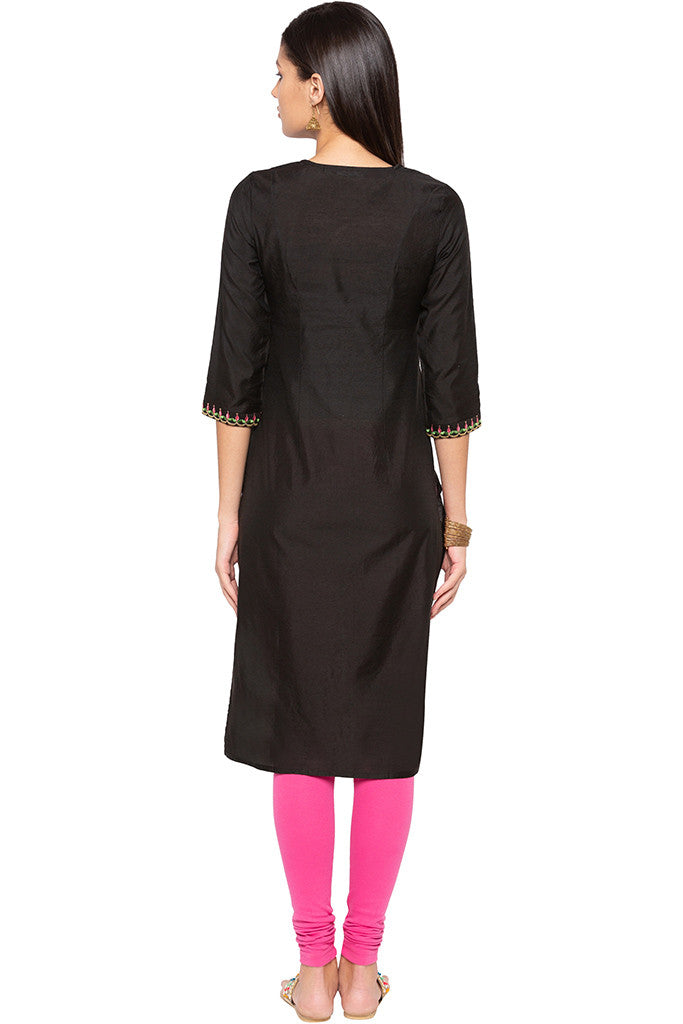 Floral Embroidered Ethnic Kurta-3