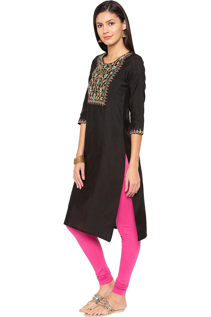 Floral Embroidered Ethnic Kurta-4