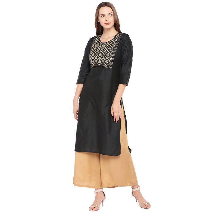 Women Black Yoke Design Straight Kurta-1