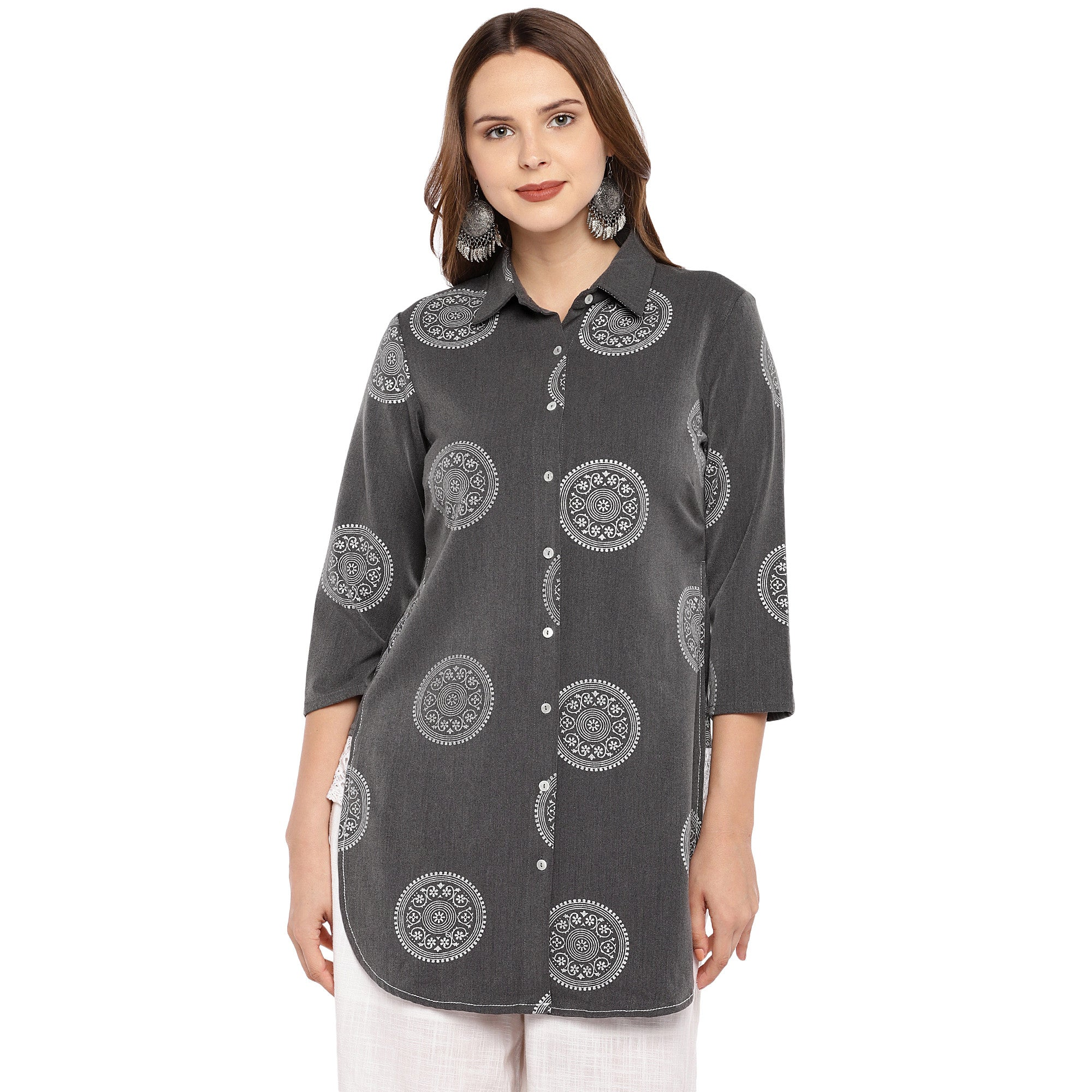 Women Grey Printed Tunic-1
