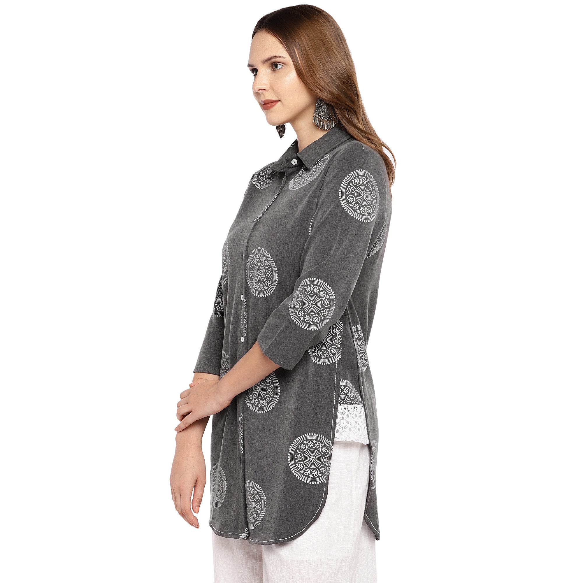 Women Grey Printed Tunic-2