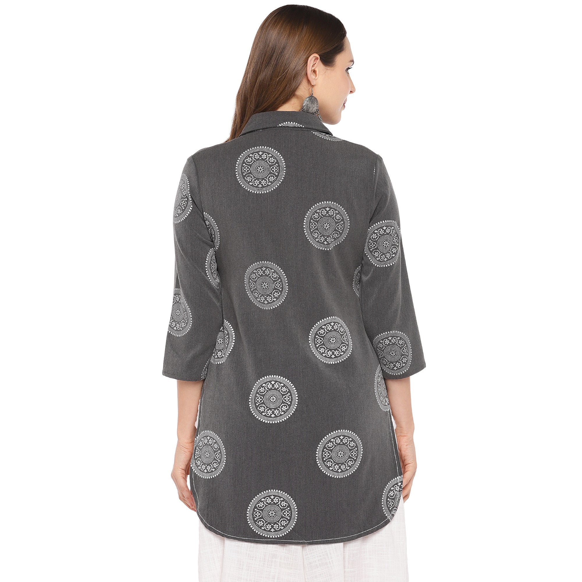Women Grey Printed Tunic-3