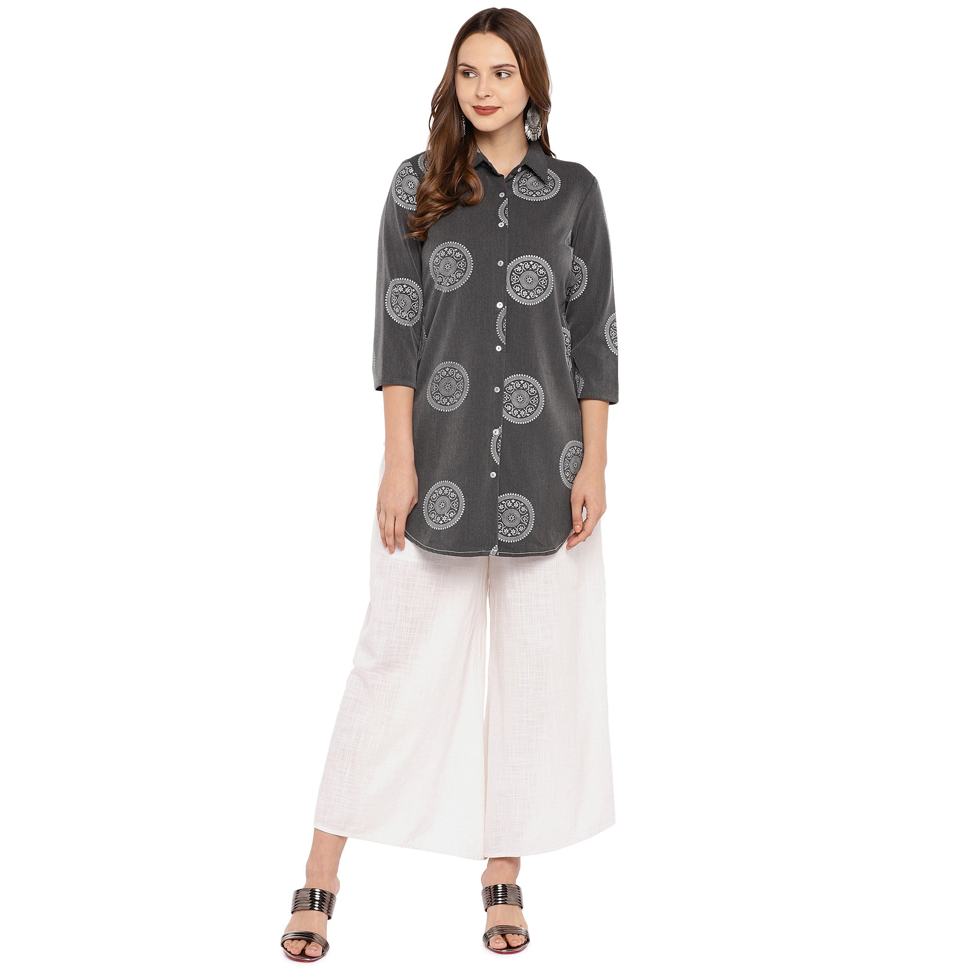 Women Grey Printed Tunic-4