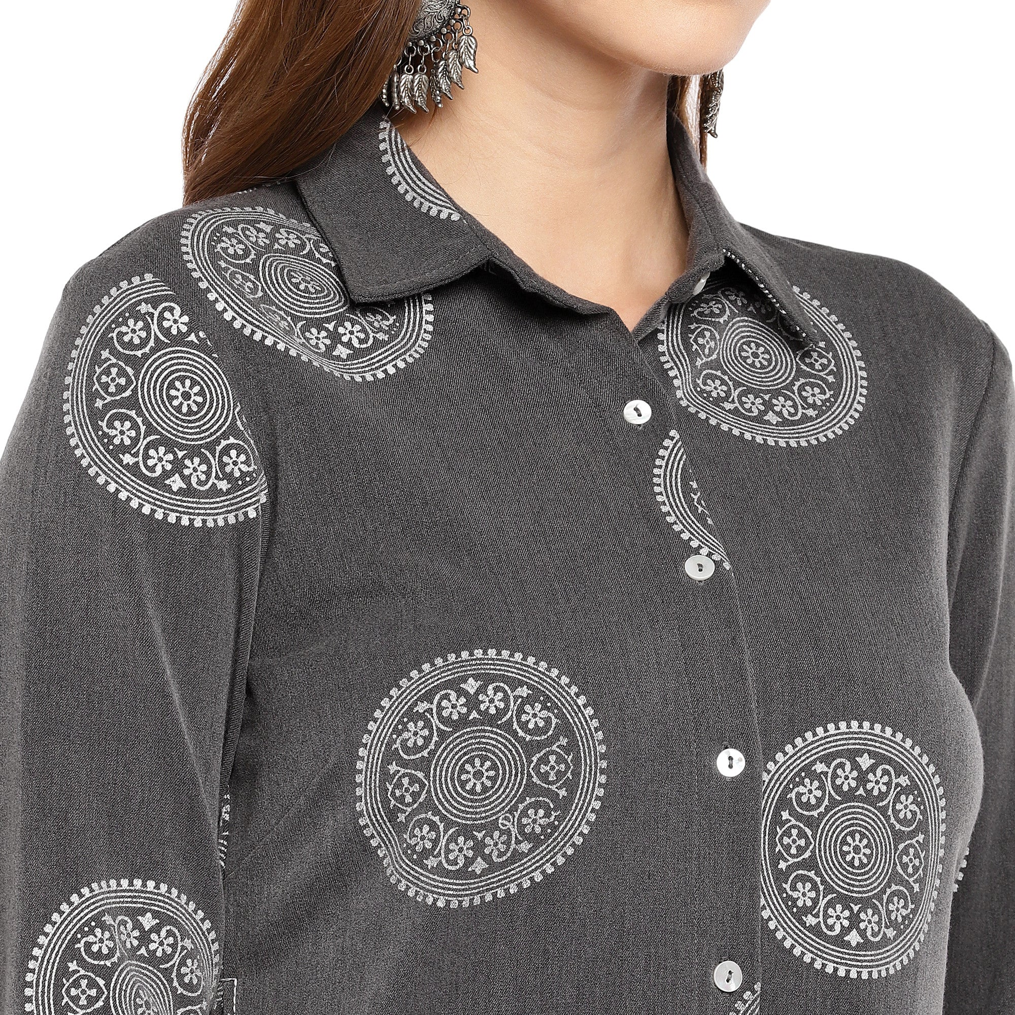 Women Grey Printed Tunic-5