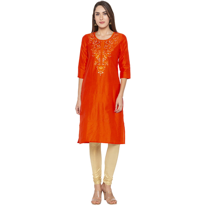 Ethnic Orange Color Straight Embroidered Regular Kurtas-1