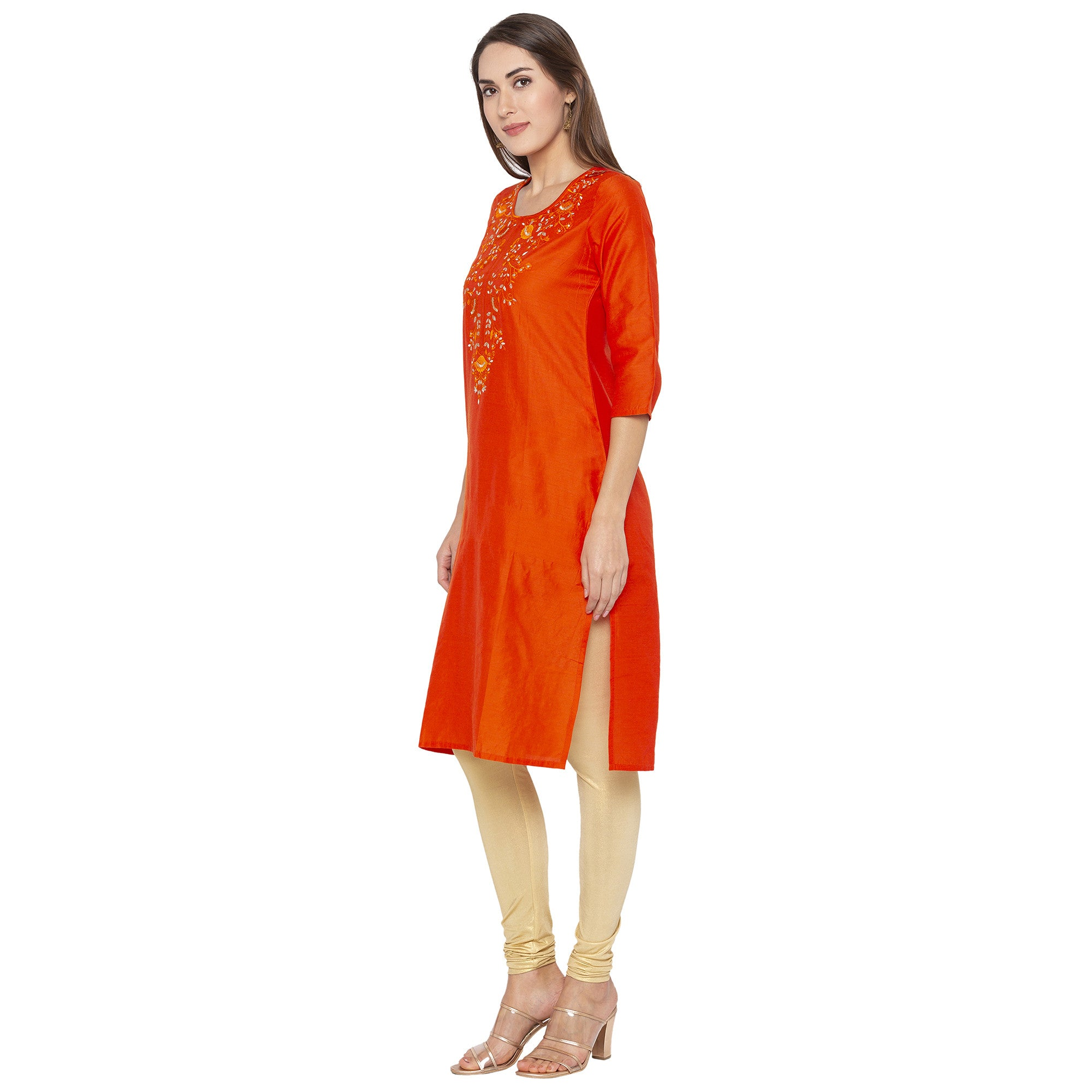 Ethnic Orange Color Straight Embroidered Regular Kurtas-2
