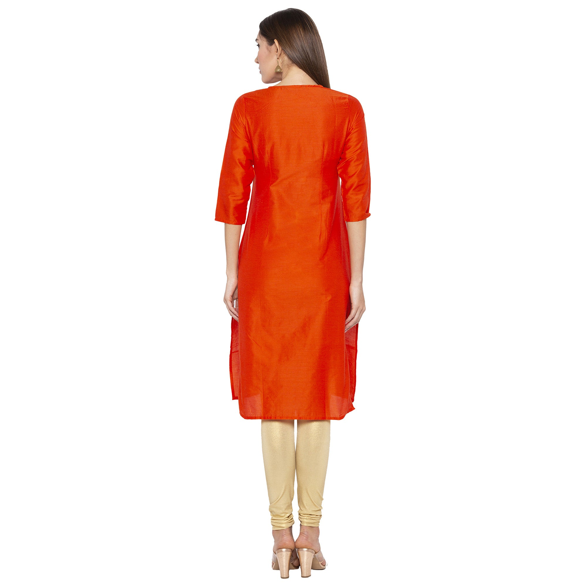 Ethnic Orange Color Straight Embroidered Regular Kurtas-3