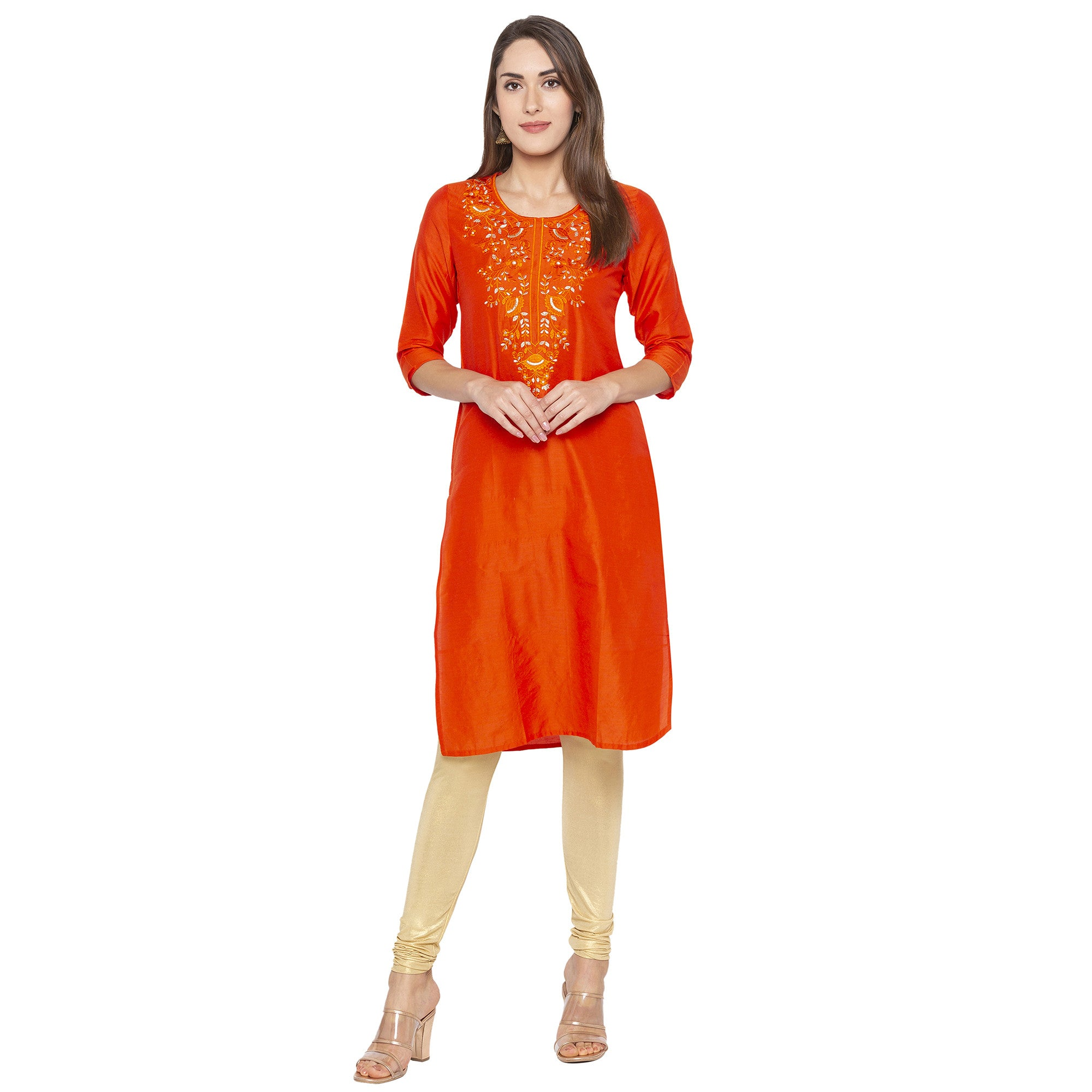 Ethnic Orange Color Straight Embroidered Regular Kurtas-4