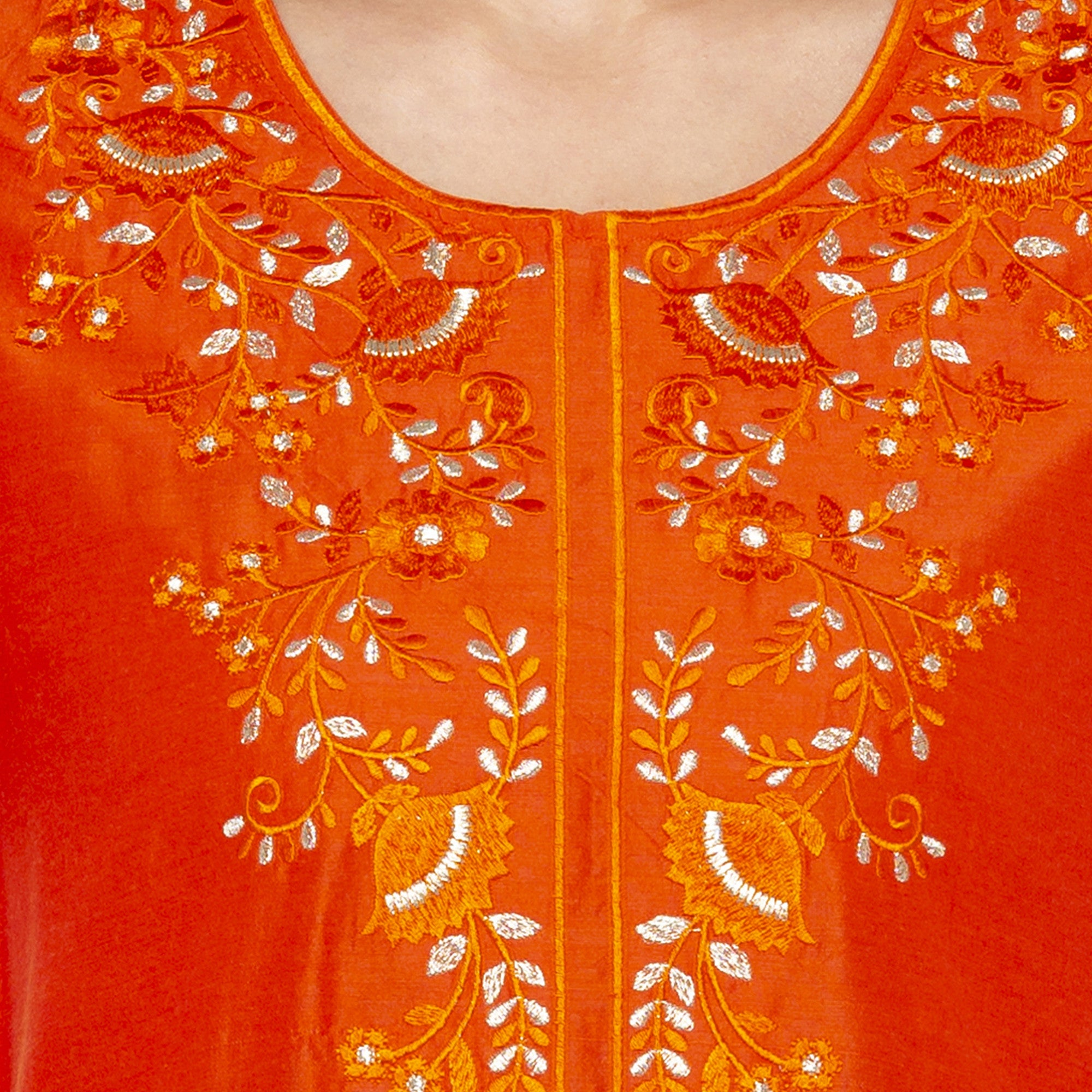Ethnic Orange Color Straight Embroidered Regular Kurtas-5