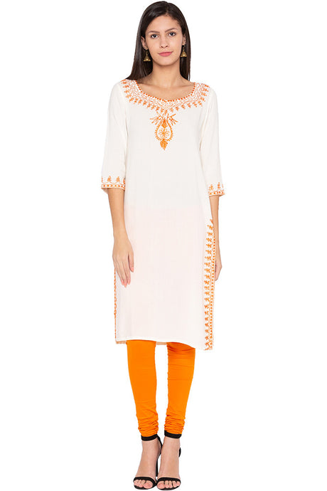 Embroidered Ethnic Ecru Kurta-1