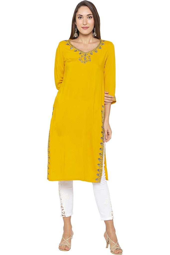 Embroidered Mustard Kurta-1