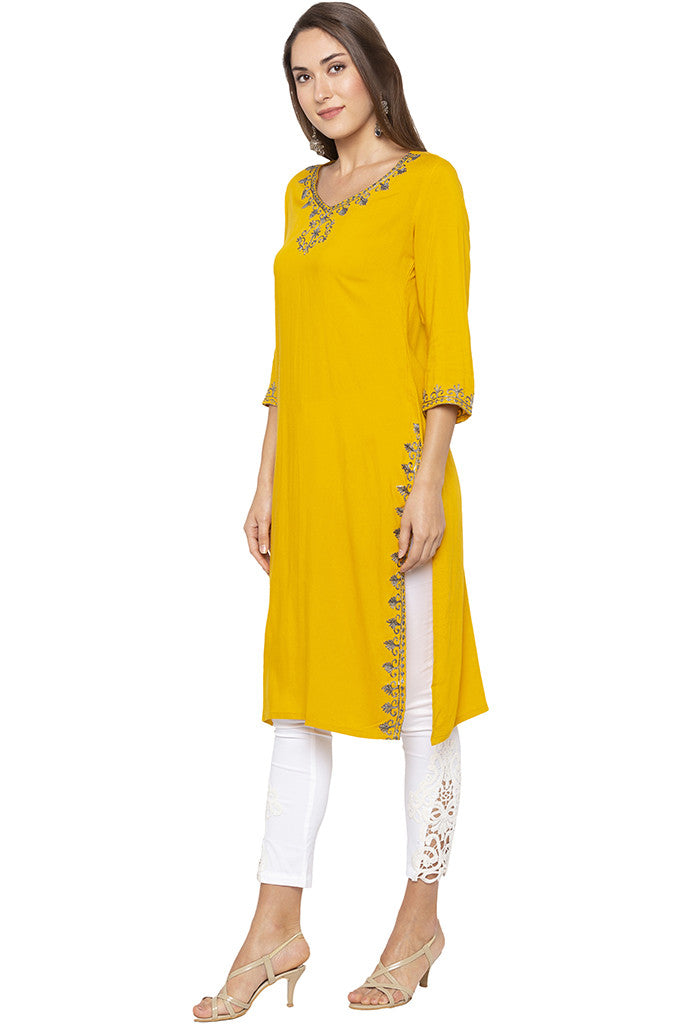 Embroidered Mustard Kurta-4