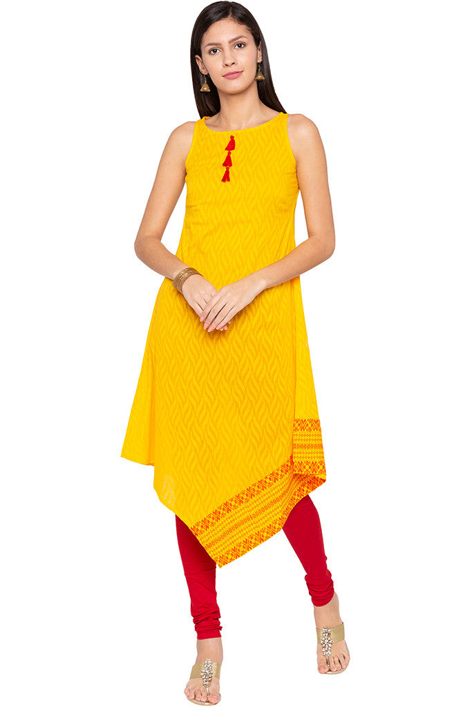 Triangle Hemline Yellow Kurta-1