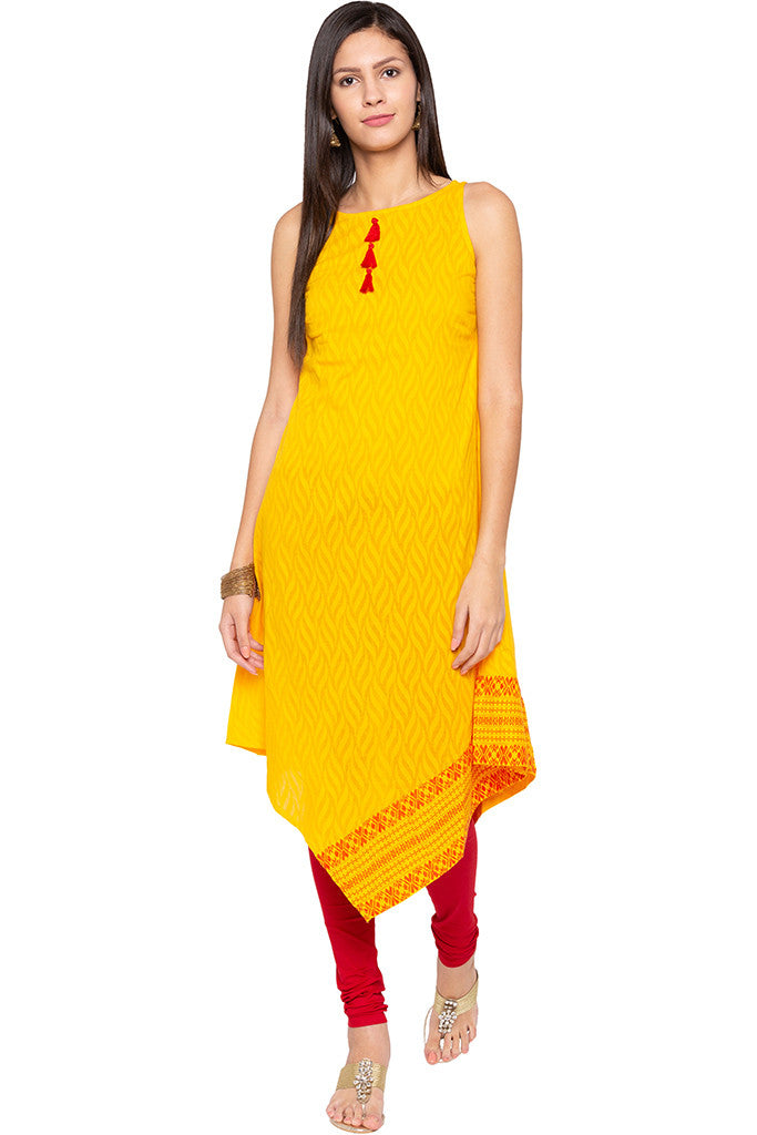 Triangle Hemline Yellow Kurta-2