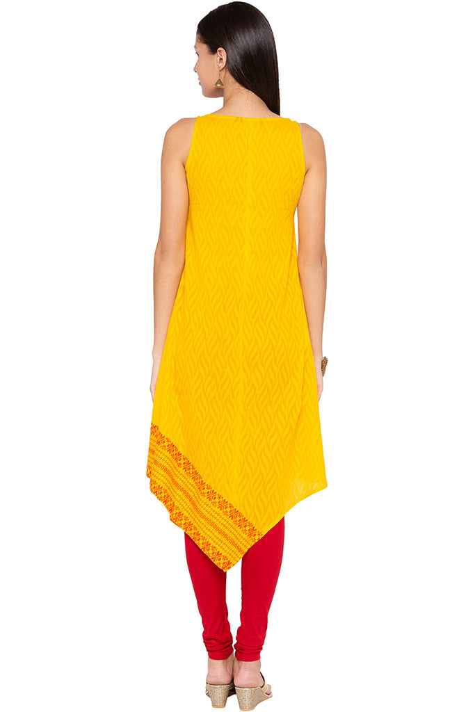 Triangle Hemline Yellow Kurta-3