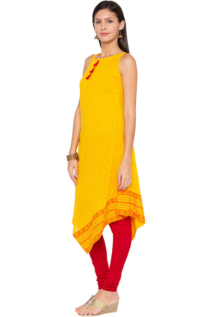 Triangle Hemline Yellow Kurta-4