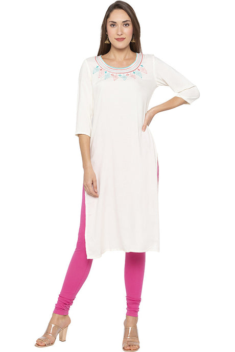 Embroidered Round Neck Ecru Kurta-1