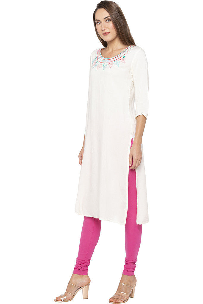 Embroidered Round Neck Ecru Kurta-4