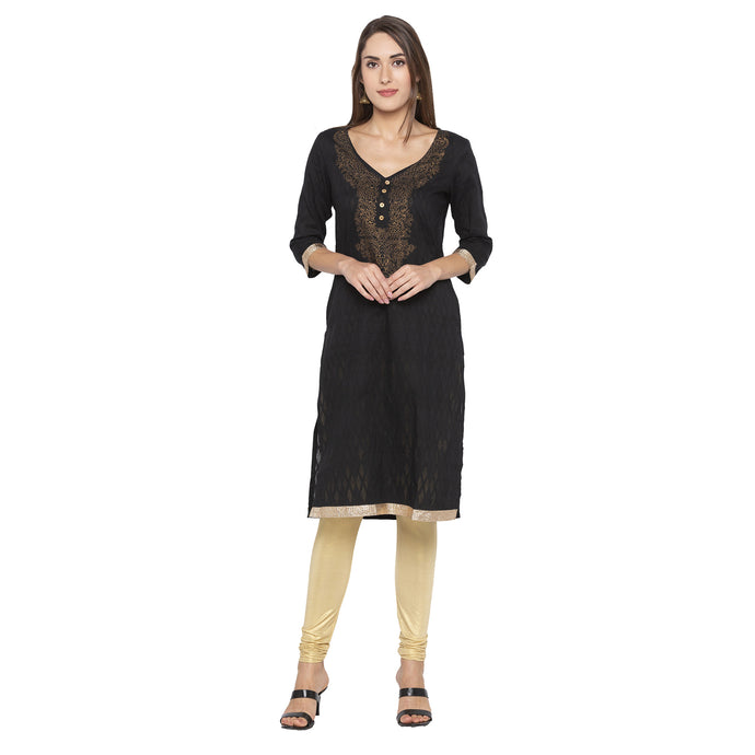 Casual Black Color Straight Yoke Design Regular Kurtas-1