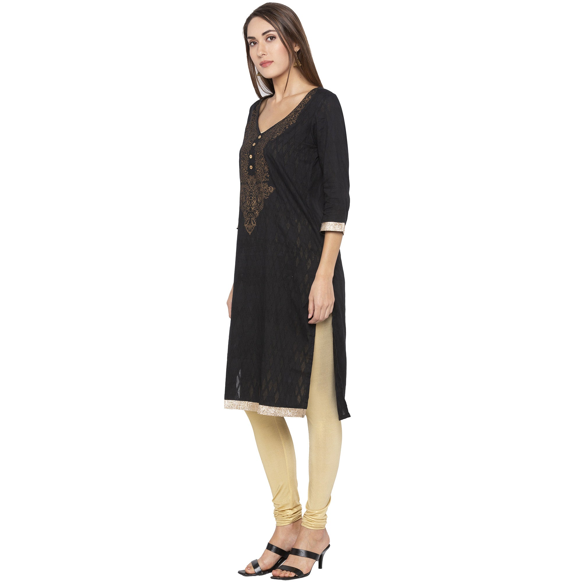 Casual Black Color Straight Yoke Design Regular Kurtas-2