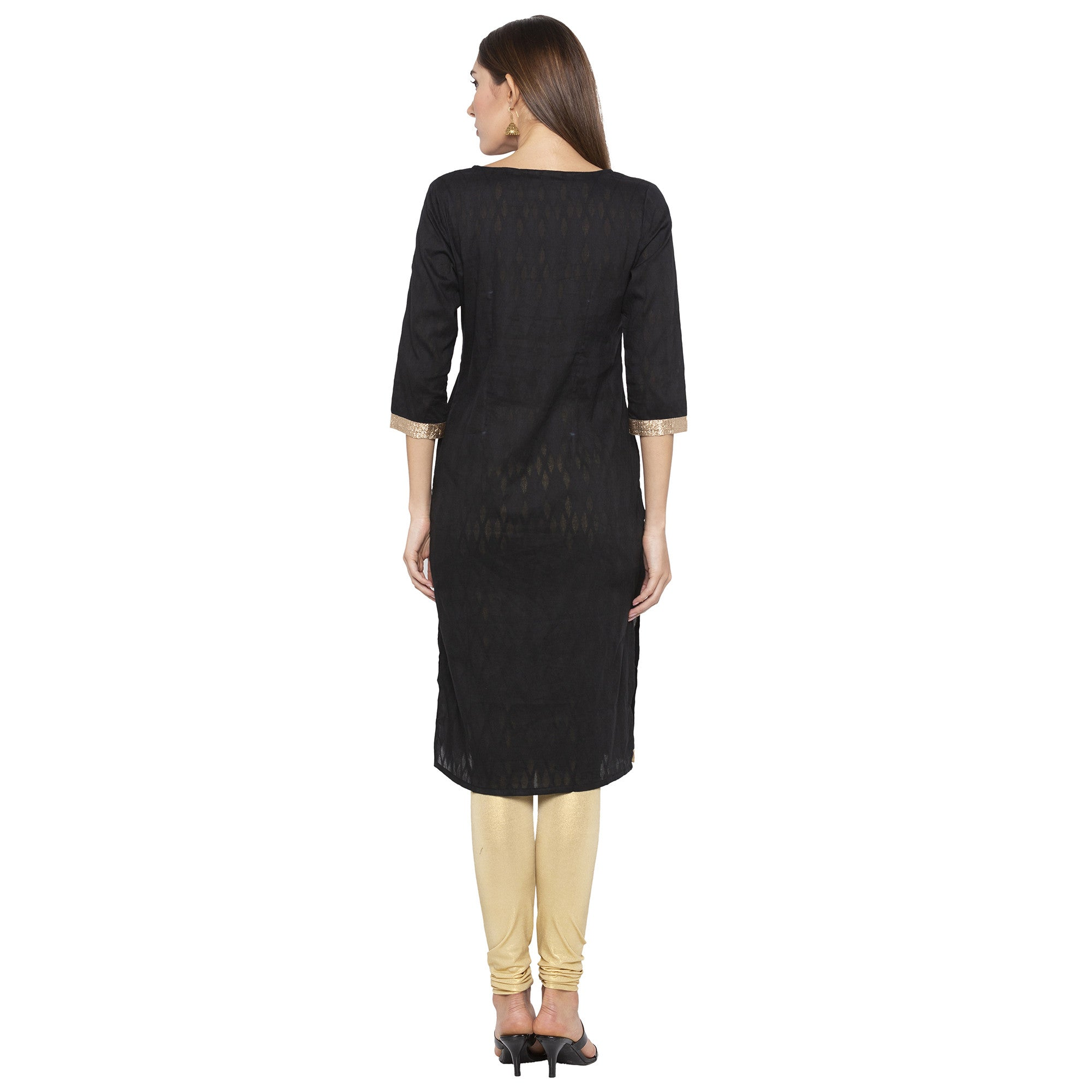 Casual Black Color Straight Yoke Design Regular Kurtas-3