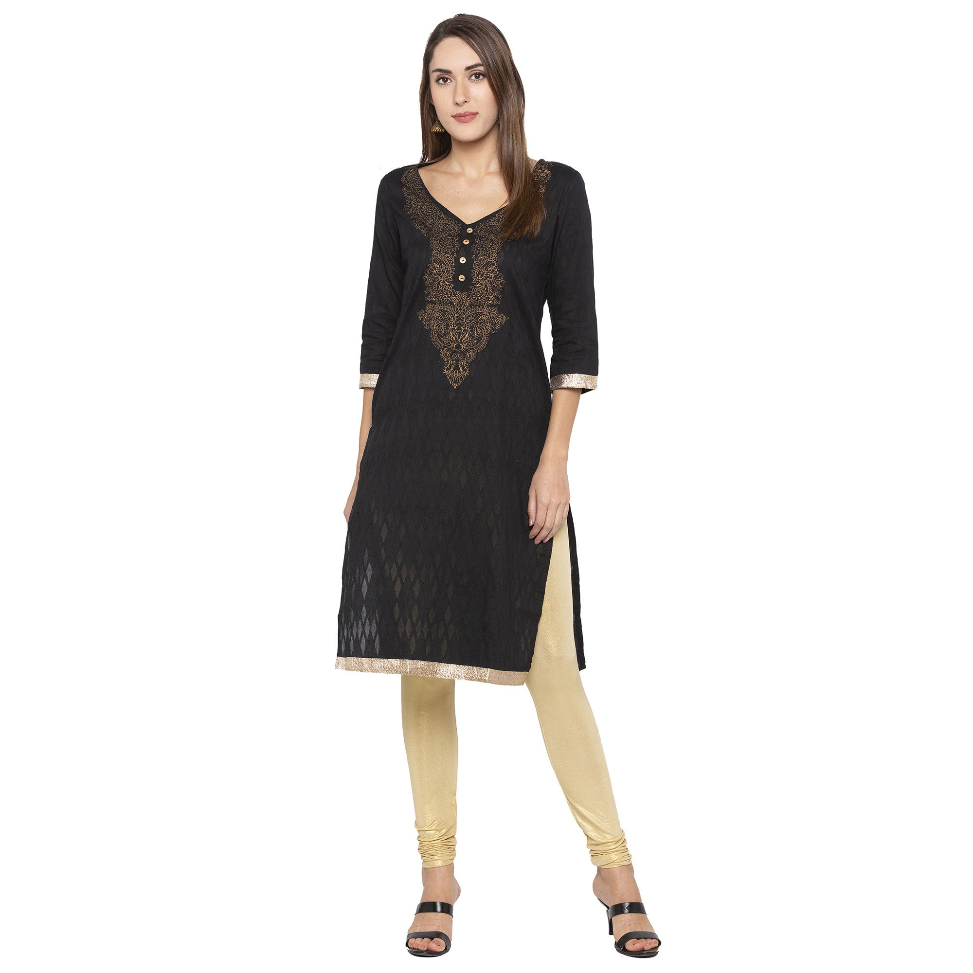 Casual Black Color Straight Yoke Design Regular Kurtas-4