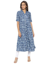 Load image into Gallery viewer, Printed Blue A-Line Kurtas-1