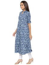 Load image into Gallery viewer, Printed Blue A-Line Kurtas-3