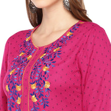 Load image into Gallery viewer, Women Pink Embroidered Straight Kurta-5