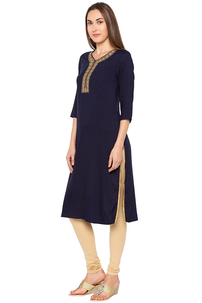 Navy Blue Embroidered Placket Kurta-4