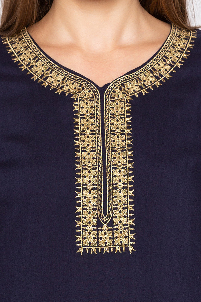 Navy Blue Embroidered Placket Kurta-5