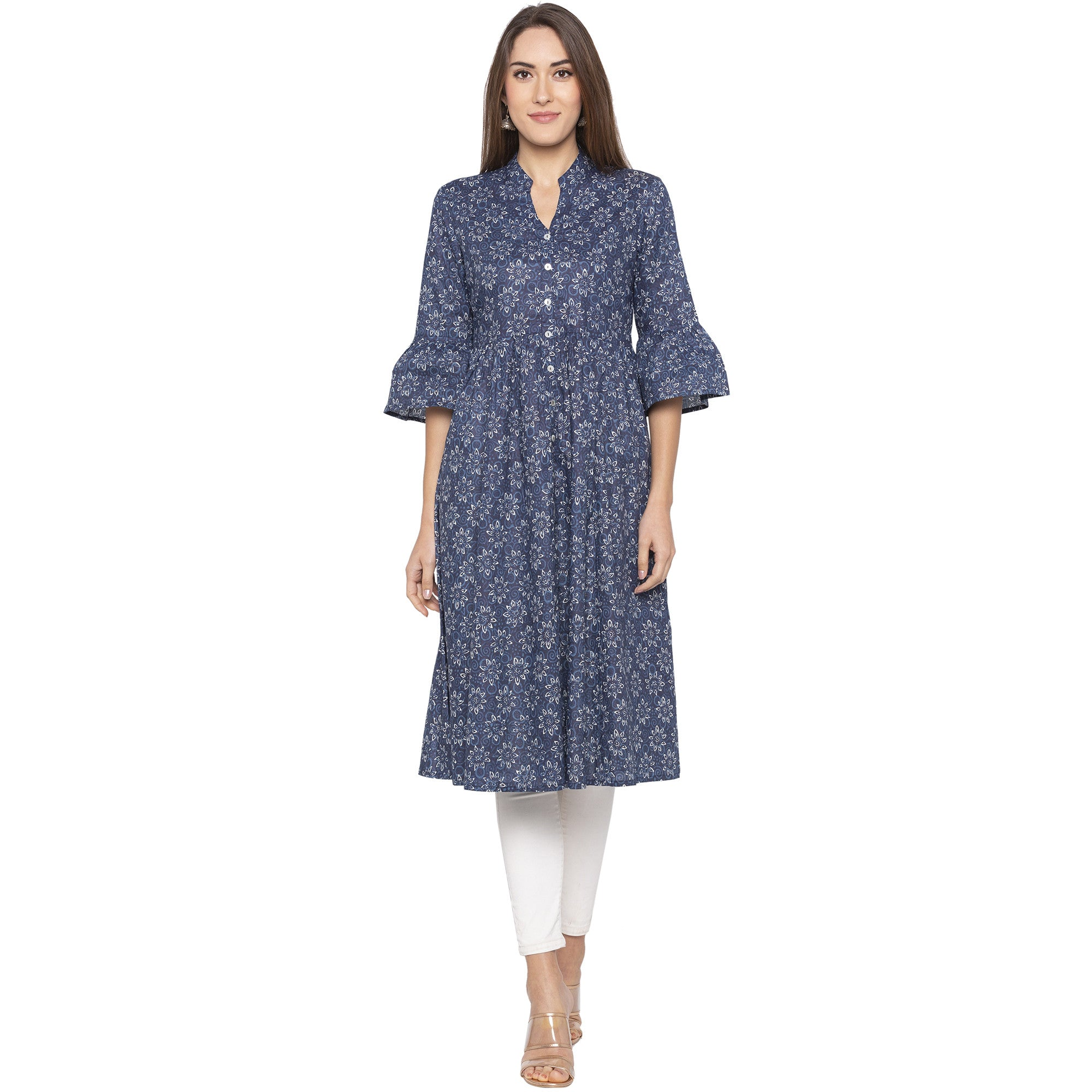 Casual Blue Color Anarkali Printed Pleated Kurtas-1