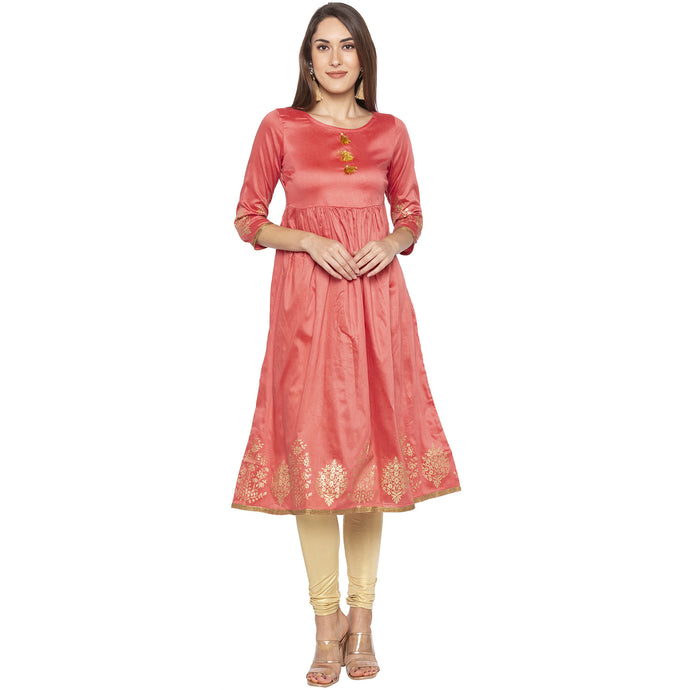 Ethnic Pink Color Anarkali Solid Empire Kurtas-1