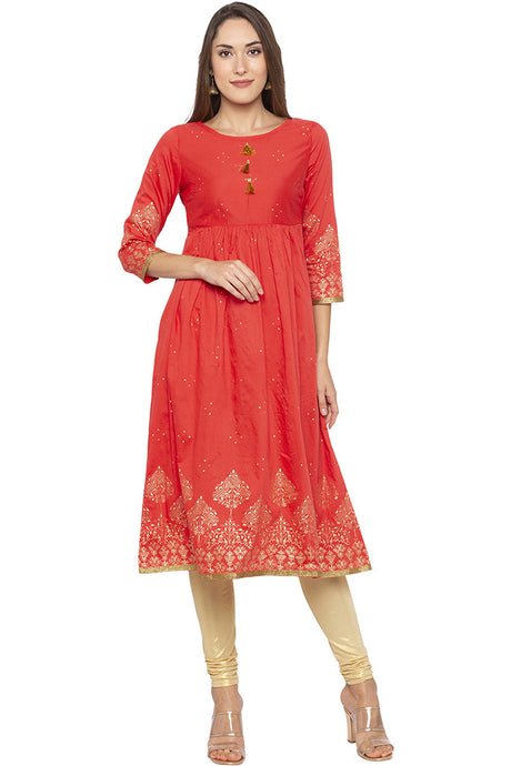 Golden Print Fit-to-flare Coral Kurta-1