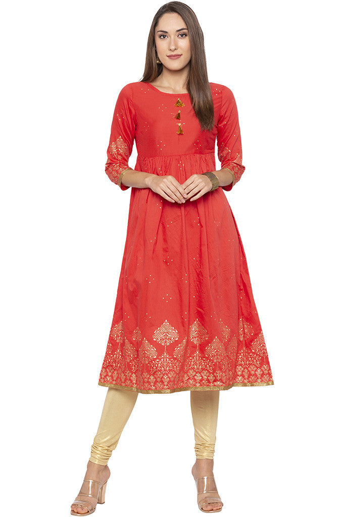 Golden Print Fit-to-flare Coral Kurta-2